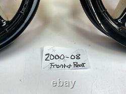 00-08 Harley Touring Powder Coated Black 9 Spoke Front&Rear Wheel 16x3