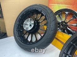 00-21 Harley Touring Front & Rear Turbine Wheels 21 Spoke Dunlop Tires OEM