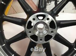 02-08 Harley Touring Black 9 Spoke Front & Rear Wheels 16x3