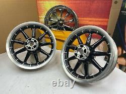 02-08 Harley Touring Gloss Black 9 Spoke Front & Rear Wheels 16x3 OEM