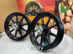 02-08 Harley Touring Powder Coated Black 9 Spoke Front & Rear Wheels 16x3