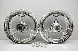 05 Harley Softail FLSTC Front Rear Wheel Rim Set CHROME 17x3.50 17 3-SPOKE