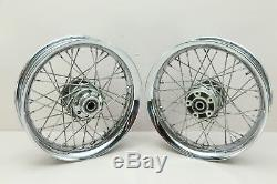 07 Harley Softail Deluxe FLSTN Front Rear 16 x 3.00 Wheel Rim Set CHROME SPOKE