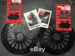 11.5 Black Super Spoke Front & Rear Rotors & 2 Lyndall Pads Kit 00-07 Harley
