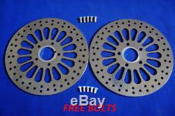 11.5 Brake Rotor Front & Rear 2pcs Super Spoke Polished Disc For Harley 5 Holes