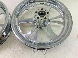 16 x 3.5 Chrome 6 Spoke Front Rear Wheel Rim Set for Harley Touring Softail