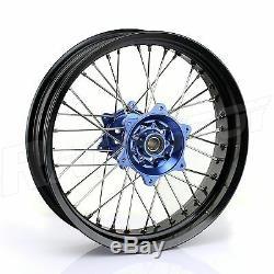 17 & 17 Supermoto Spoked Wheel Set Hubs Rims Rotors Yamaha YZ250F YZ450F 09-13
