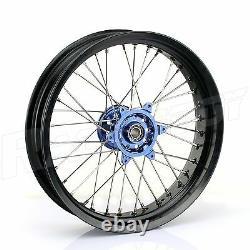 17 Supermoto Spoked Wheel Rim Blue Hub Set Rotors Yamaha YZ250F YZ450F 2014-19