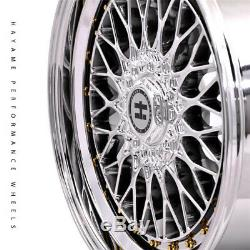 18x9 Hayame Performance Wheel Rims Platinum Chrome with Gold Accents