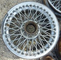 1962 67 up MG MGB Knock Off Wire Wheels 60 Spoke Front Rear LH RH Hubs Set OEM