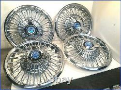 1965 1966 MUSTANG OEM 48 SPOKE 14 WIRE HUBCAPS withNEW BLUE SPINNERS (set of 4)