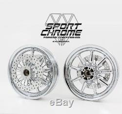 2002-2007 Harley Nine Spoke Chrome Wheels Rims Discs Road King Glide Electra 9