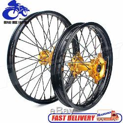 2007-2019 Suzuki RMZ250 RMZ450 21&18 MX Wheel Set Black Rims Gold Hubs Spokes