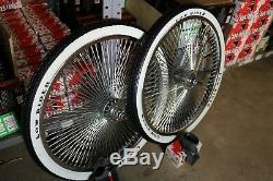 20 LOWRIDER LOGO Bicycle Chrome Wheels & White Walls 144 Spoke Front & Rear