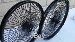 20 Lowrider Bicycle Dayton BLACK Wheels 140 Spokes Front & Rear Set 20x2.125