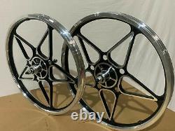 20 x 32mm BMX Front & Rear Freewheel Alloy Wheels 10 spokes Polish / Black M13