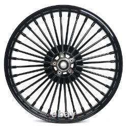 21Front 18Rear Gloss Black Fat Spoke Cast Wheels Touring Heritage Softail Dyna
