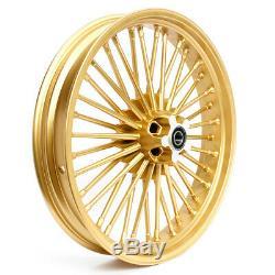 21Front 18 Rear Gold Cast Wheels Single Disc Fat King Spoke for Harley Softail