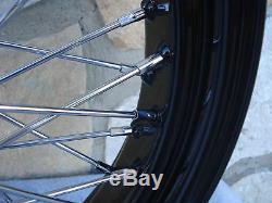 21 & 16 Black Front Rear 60 Spoke Wheel Set For Harley Softail Fxst Fxdwg
