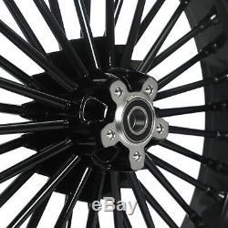 21 & 16 Front Rear Wheel Rim Set Fat King Spoke Softail Touring Dyna Gloss Black