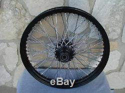 21 & 18 Black Front Rear 60 Spoke Wheel Set For Harley Softail Fxst Fxdwg
