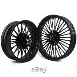21 18 Black Front Rear Cast Wheels Single Disc Fat Spokes Dyna Softail Touring