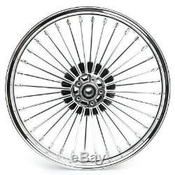 21&18 Chrome Fat Spoke Front Rear Wheel Rim Set for Harley Dyna Softail Touring