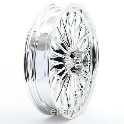 21 18 Chrome Front Rear Cast Wheels Rim Fat Spokes for Harley Dyna Softail