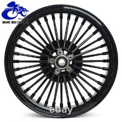 21 & 18 Fat Spoke Front Rear Wheel Rim Set for TOURING Softail Dyna Gloss Black