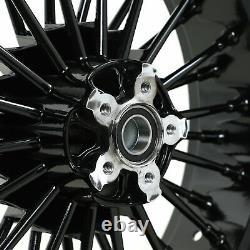 21 & 18 Front Rear Cast Wheels Double Disc Fat King Spoke Softail Touring Dyna