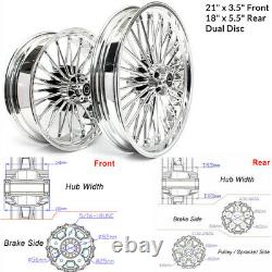 21 18 Front Rear Cast Wheels Dual Disc Fat Spokes for Sportster Custom XL883C