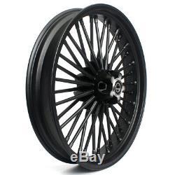 21 & 18 Front Rear Cast Wheels Single Disc 36 Fat King Spokes Softail Dyna Black