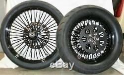 21 Front & 16/150 Avon Tires + King Spoked Black Wheels Mounted & Balanced