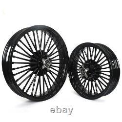 21 Front 16 Rear Tubeless Wheels Fat Spokes for Harley Touring FLHT FLHR 00-08