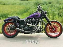 21 Front 18 Rear Red Cast Wheels Single Disc 36 Fat King Spoke for Harley Dyna