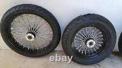21 X 3.5 & 16 X 3.5 Blk/cp Fat Spoke Wheel Set Bw Tires Harley Flh, Flt 00-07