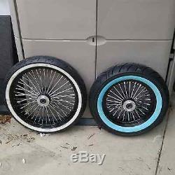 21 X 3.5 Dual Disc & 16 X 3.5 Fat Spoke Set Ww Tires 4 Harley, Flt/flh 2000 -07