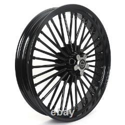 21x16 Gloss Black Tubeless Fat Spoke Front Rear Wheel 84-07 Touring Softail Dyna