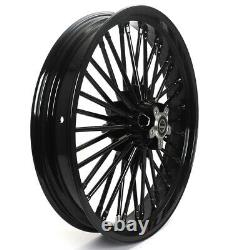 21x3.5 & 18x5.5 Front Rear Cast Wheels Dual Disc Fat Spokes Touring Softail Dyna