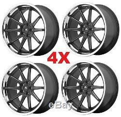 22 Matte Satin Black Chrome Lip Wheels Rims Set 4 5x115 Multi Spokes