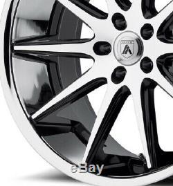 22 Staggered Camaro Wheels Rims Black Chrome Ss Rs Ls Lt Zl1 Le Asanti