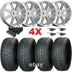 24 Chrome Wheels Rims 305 35 24 Tires F-150 Navigator Expedition Dub Lexani