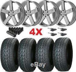 24 Silver Wheels Rims 305 35 24 Lionhart Tires Gmc Sierra Silverado
