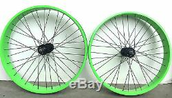 26 x 4.0 Rear & Front Fat Bike Wheels set 7 speed 36 spokes Disc Brake Green