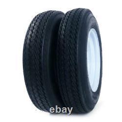2 New Trailer Tires & Rims 5.30-12 530-12 5 Hole Wheel White Spoke