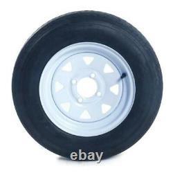 2pcs Trailer Tires & Rims Tubeless 4Lug Wheel White Spoke 4Ply 5.30-12