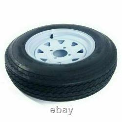 2x 5.30 X 12 5.30-12 Trailer Tires & Rims Tubeless 4 Lug Wheel White Spoke 4Ply