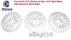 3 PC Mutazu Super Spoke 11.8 2 Front 1 Rear Brake rotors disc for Harley 08-13