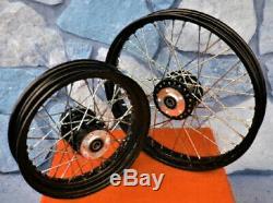 40 Spoke Black 21 & 16 Front/rear Wheel Set Harley Sportster XL 883 1200 00-04