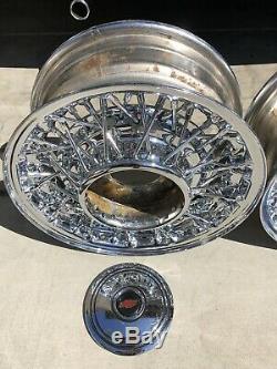 (4) 15 52 Spoke Mclean Wire Wheels Front 15X6 Rear 15X7 Old School 6 Lug C10